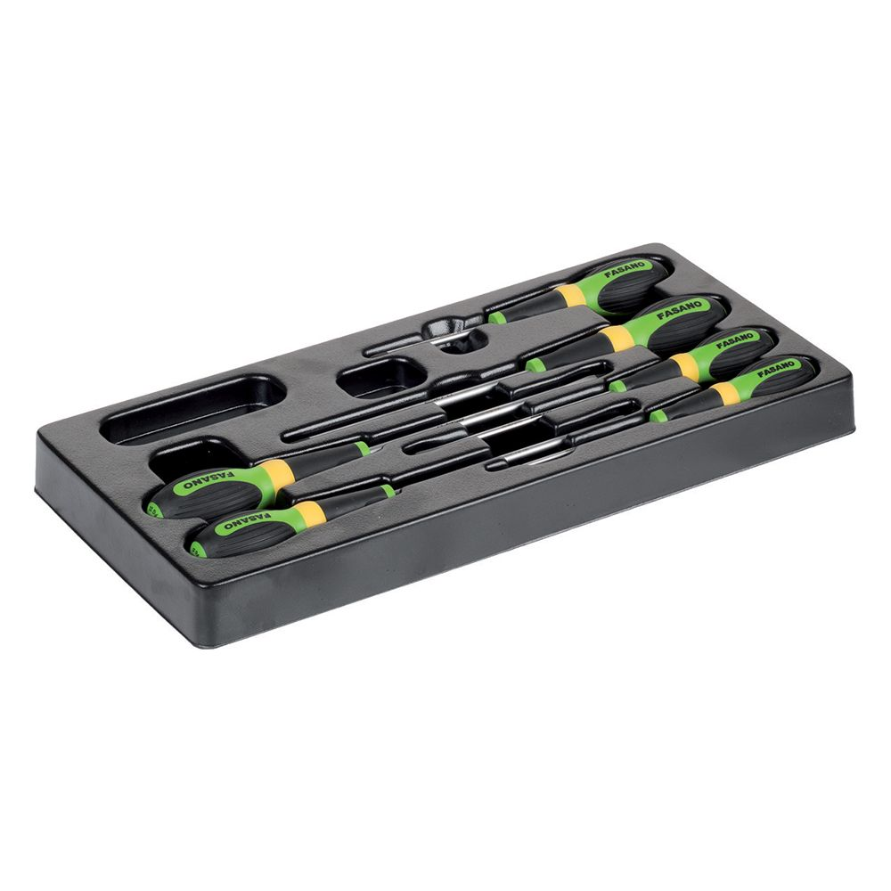 Plastic tray of 6pcs screwdrivers - Slotted & Phillips