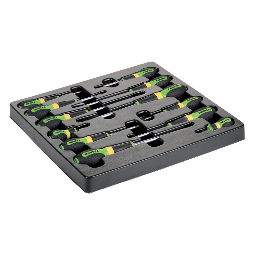Plastic tray of 12pcs screwdrivers - Slotted & Phillips