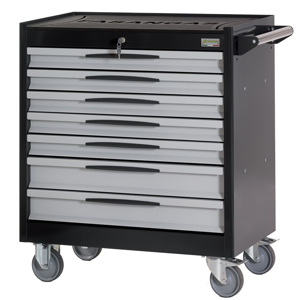 Tool trolley FG 104 with 7 drawers, with wooden cover top
