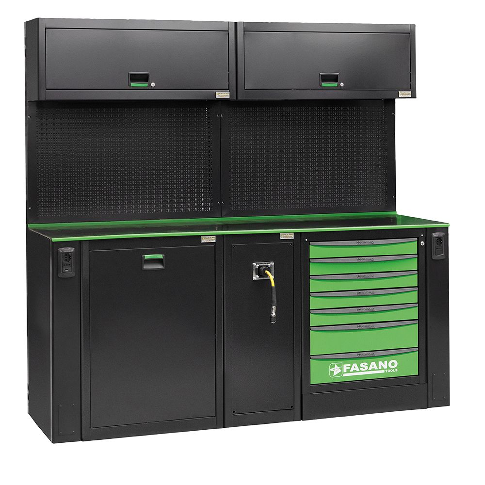 Workshop equipment combination, composed by 02 upper cabinets, 01 fixed tool box with 7 drawers, service module for air distribution and waste collection module