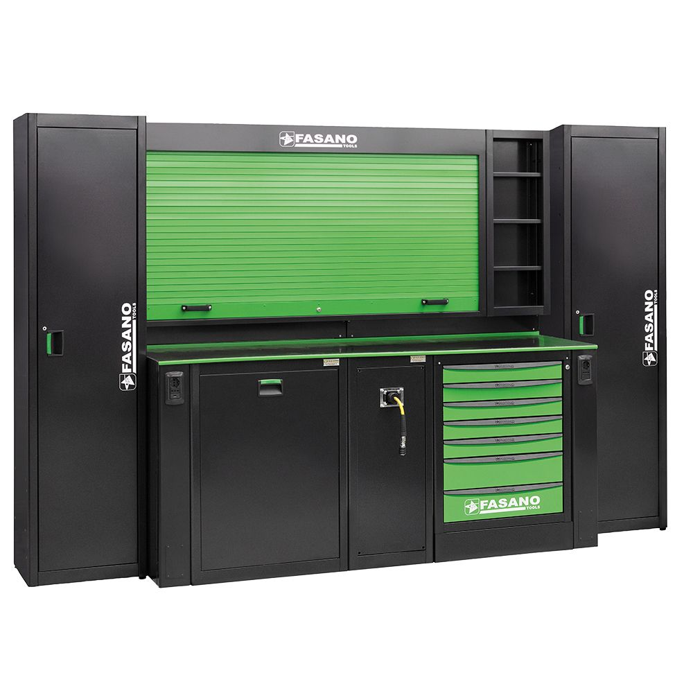 Workshop equipment combination, composed by tool rack with shutter, 01 fixed tool box with 7 drawers, service module for air distribution and waste collection module