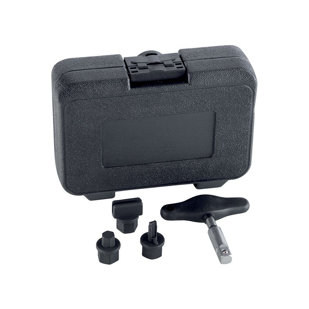 Universal kit of removing tools for plastic oil drain plugs