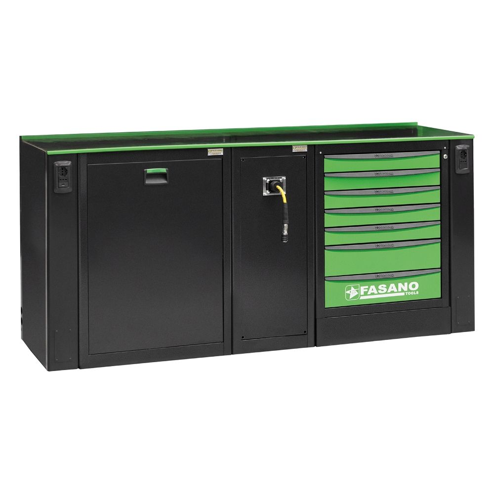 Workshop equipment combination, composed by 01 fixed tool box with 7 drawers, Service module for air distribution and Waste collection module