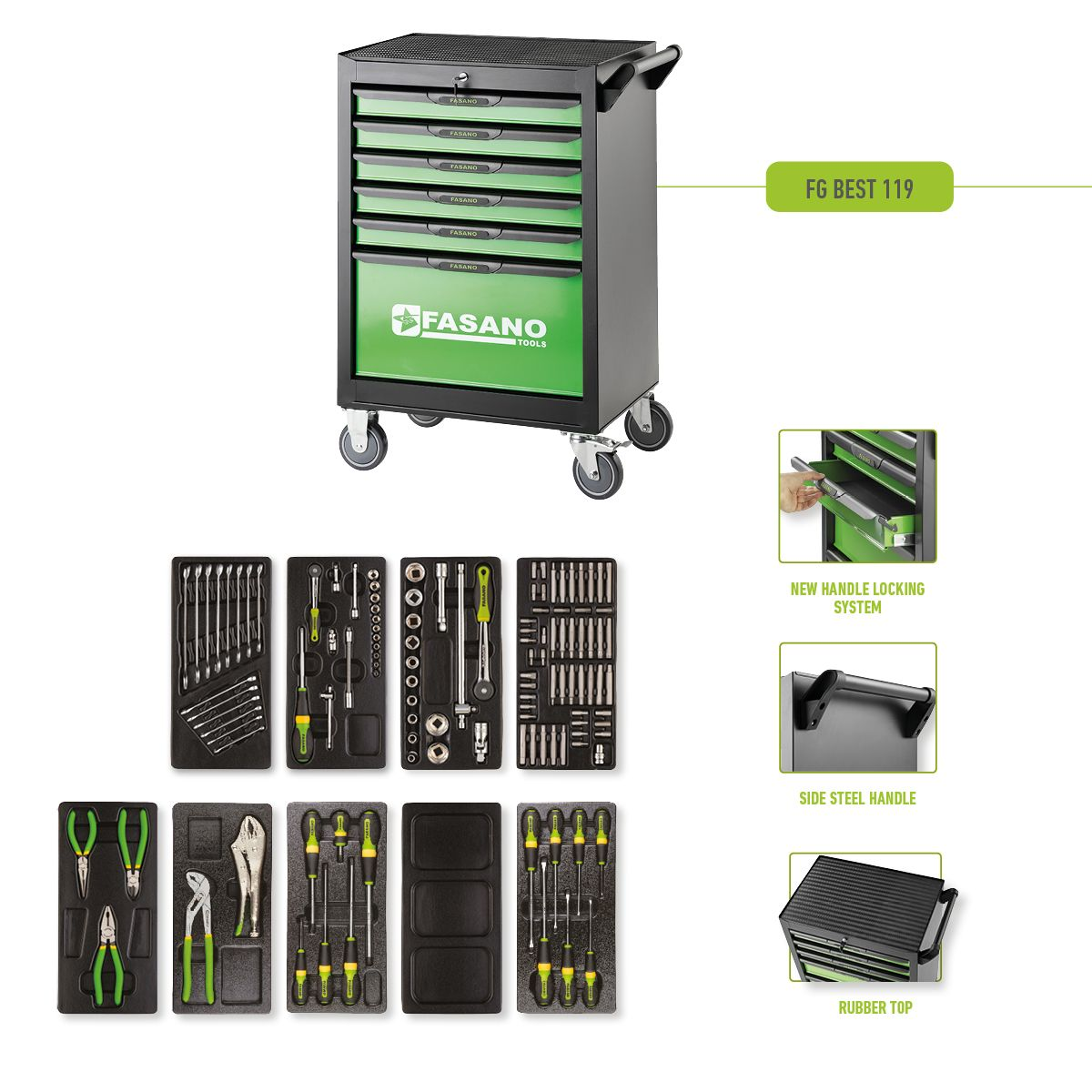 Tool Box FG 101 with 6 drawers and 119pcs assortment of professional tools