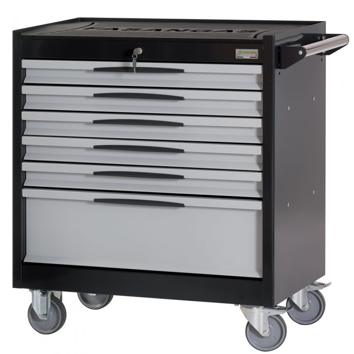 Tool trolley FG 104 with 6 drawers, with wooden cover top