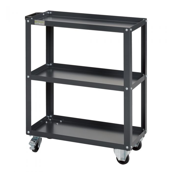 Tool carrying trolley with 3 shelfs