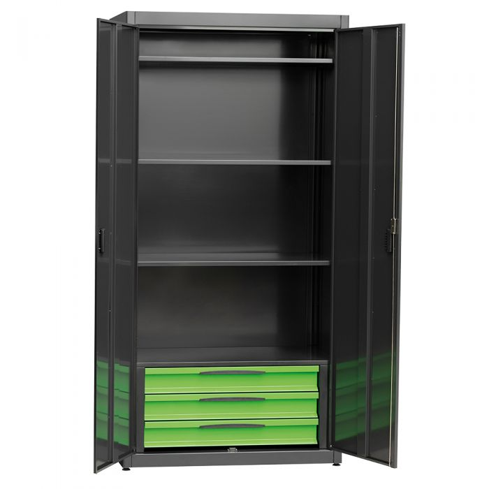 Metal cabinet with 2 doors, equipped with 3 drawers on ball bearing slidings