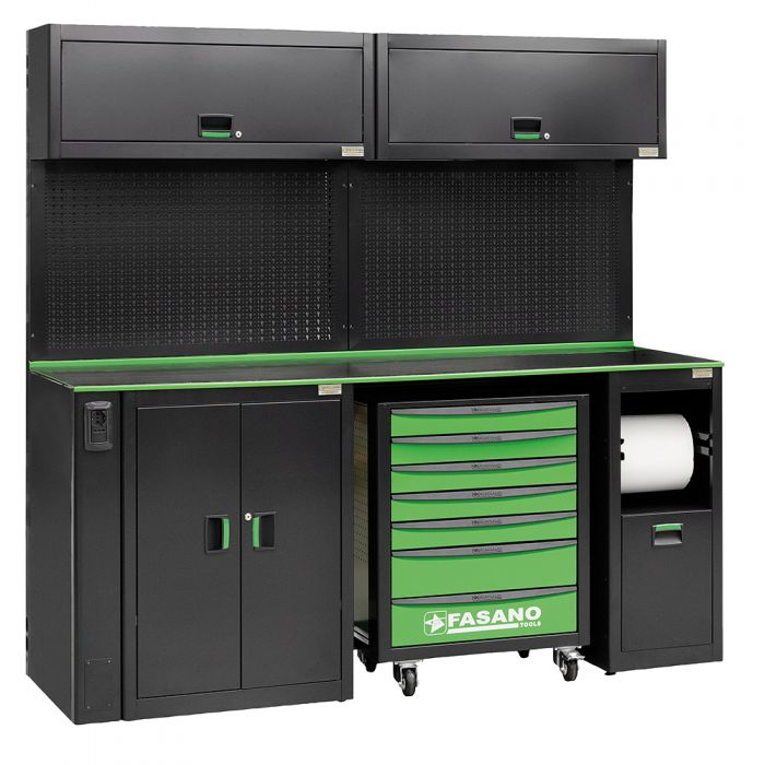 Workshop equipment combination, composed by 02 upper cabinets, 01 fixed tool box with 7 drawers, service module for paper and waste collection module