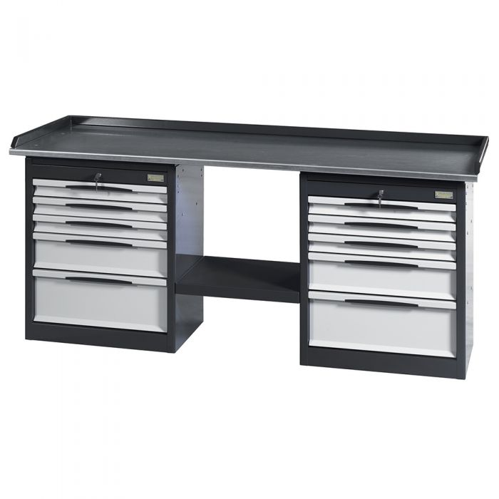 Workbench equipped with steel worktop and 2 cabinets with 5 drawers