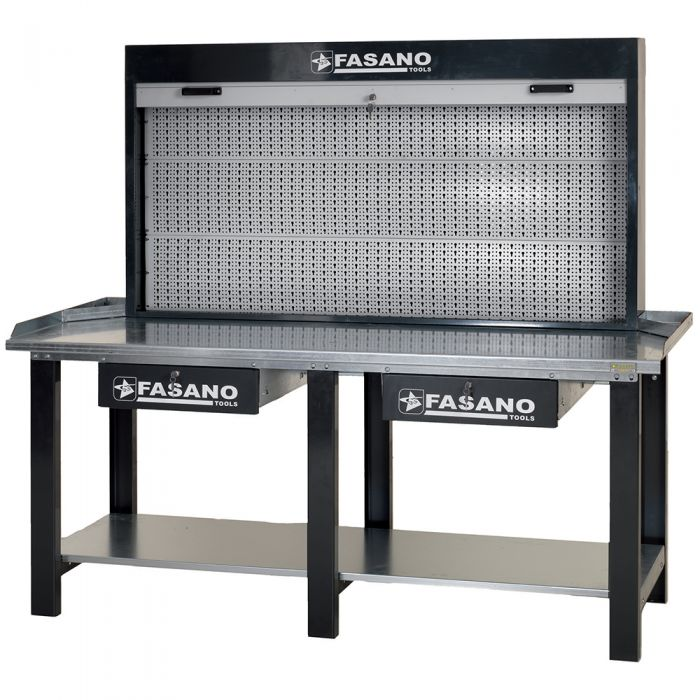 Workbench equipped with panel tools holder with aluminum shutter