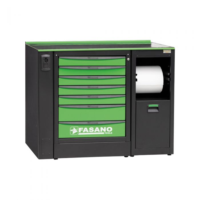 Workshop equipment combination, supplied with 01 fixed tool box with 7 drawers and Service module for paper