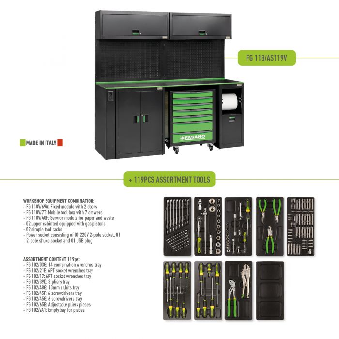 Workshop Equipment Combination with 119pcs assortment tools