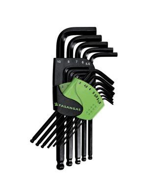 Offset hexagon key wrenches' set, ball type